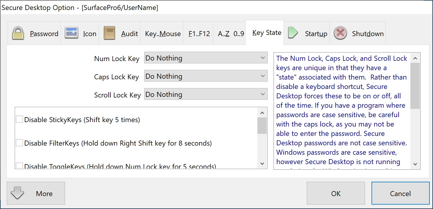 Secure Desktop Key State and Access Keys